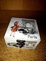 Шкатулка  квадратная 10*10 см Париж, фото 1
