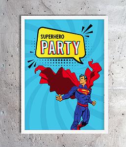 """Постер для праздника супергероев """"Superhero Party"""" (2 размера)"""