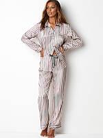 Пижама женская шелковая в полоску Victoria's Secret. Пижама женская полосатая VS, р. S (розовая с серым)