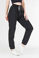 Женские брюки карго из стрейч-котона черные, штаны джогеры на резинке со шнурком VS 1131