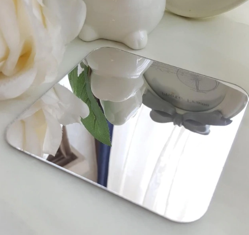 Зеркало акриловое серебро квадрат 14 см х 14 см, 1 штука крепление скотч