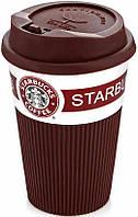 Чашка керамическая кружка StarBucks Brown коричневая стакан для кофе, чая, горячих напитков Star Bucks, фото 1