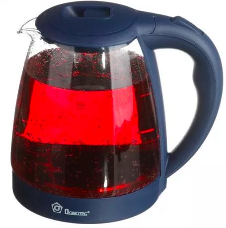 Стеклянный электрочайник Domotec MS-8211 Blue 2200W 2.2 л, чайник электрический с цветной RGB подсветкой