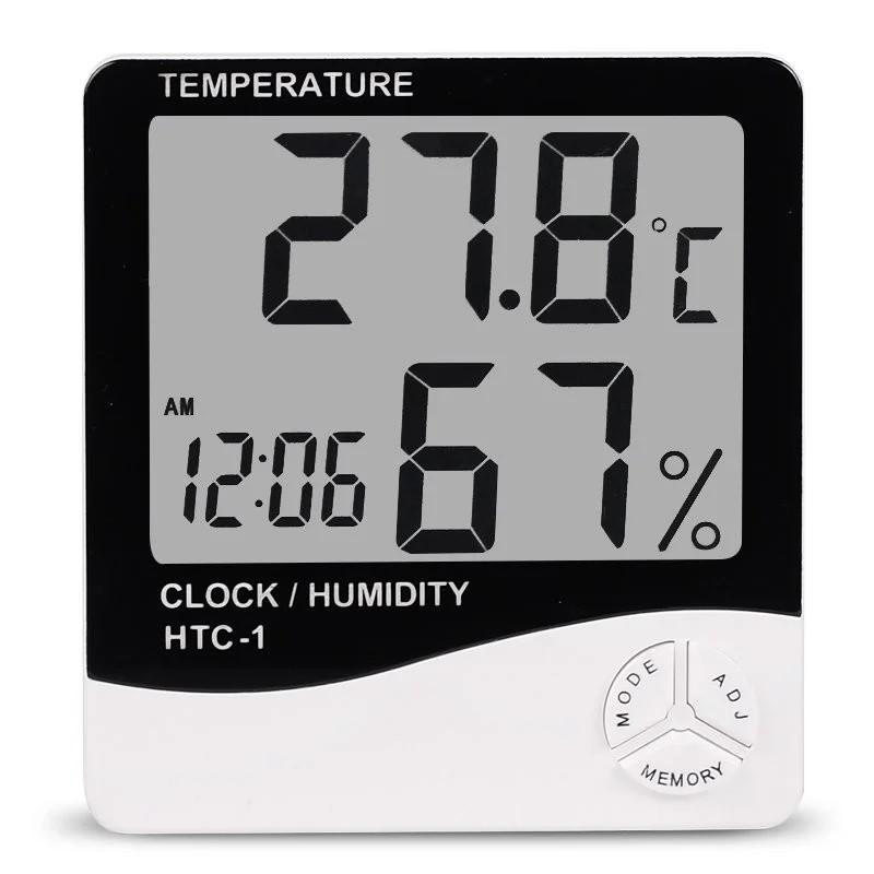 Цифровой термометр часы гигрометр LCD 3 в 1 HTC-1, борометр, комнатный термометр