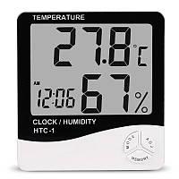 Цифровой термометр часы гигрометр LCD 3 в 1 HTC-1, борометр, комнатный термометр, фото 1
