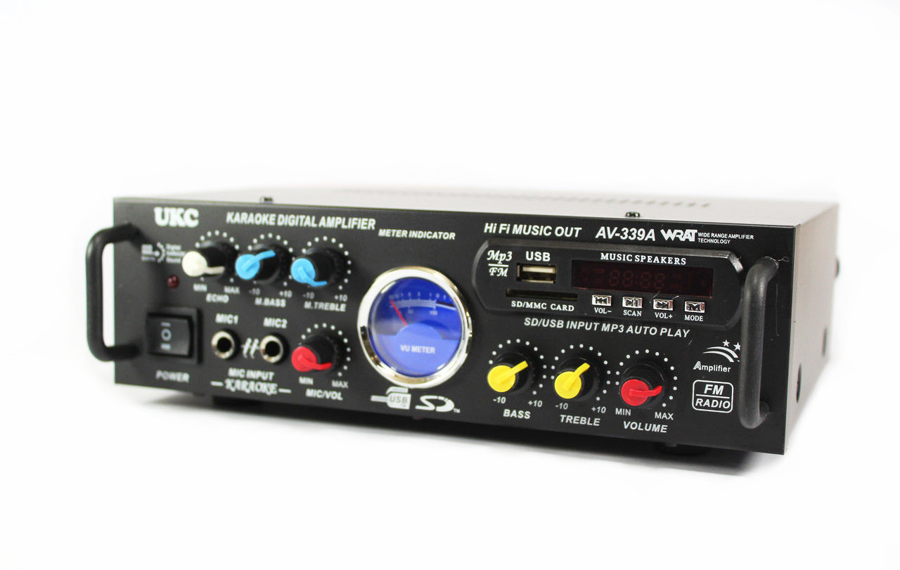 Усилитель мощности звука UKC AV-339BT 300W + караоке на 2 микрофона