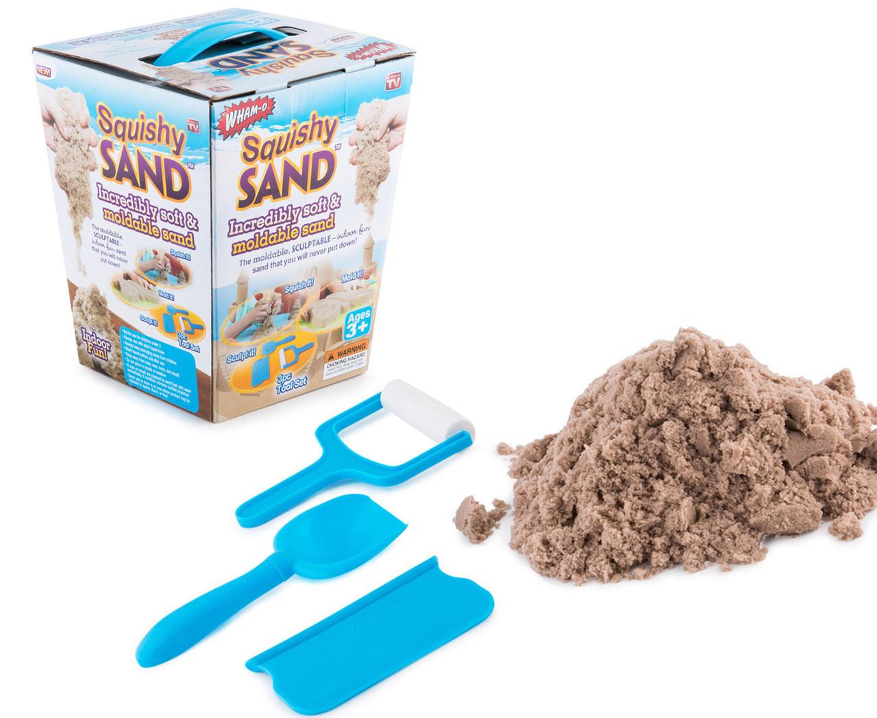 Кинетический песок Squishy Sand + лопатка, ролик, нож