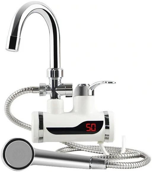 Проточный водонагреватель электрический на кран Delimano с LCD дисплеем и душем боковое подключение