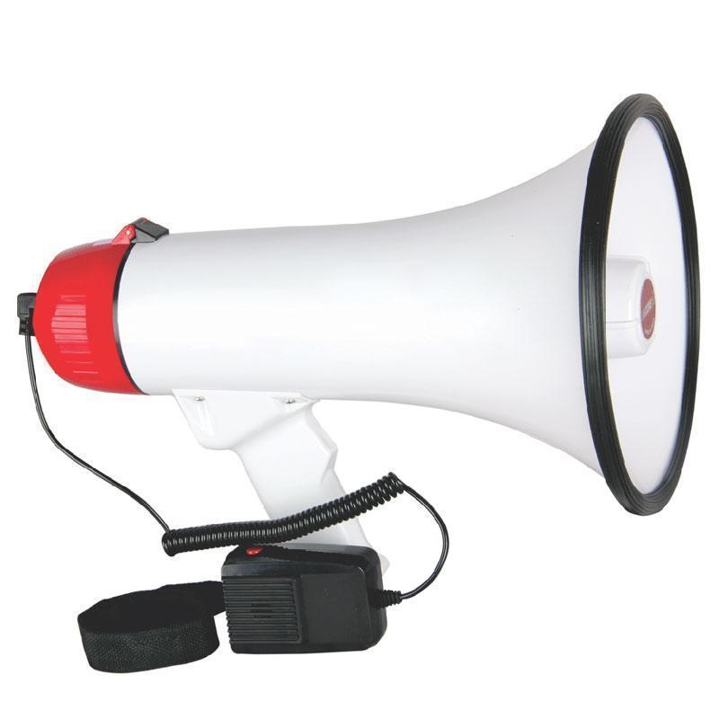 Ручной мегафон рупор ER-55U 20W дальность 400м громкоговоритель с выносным микрофоном