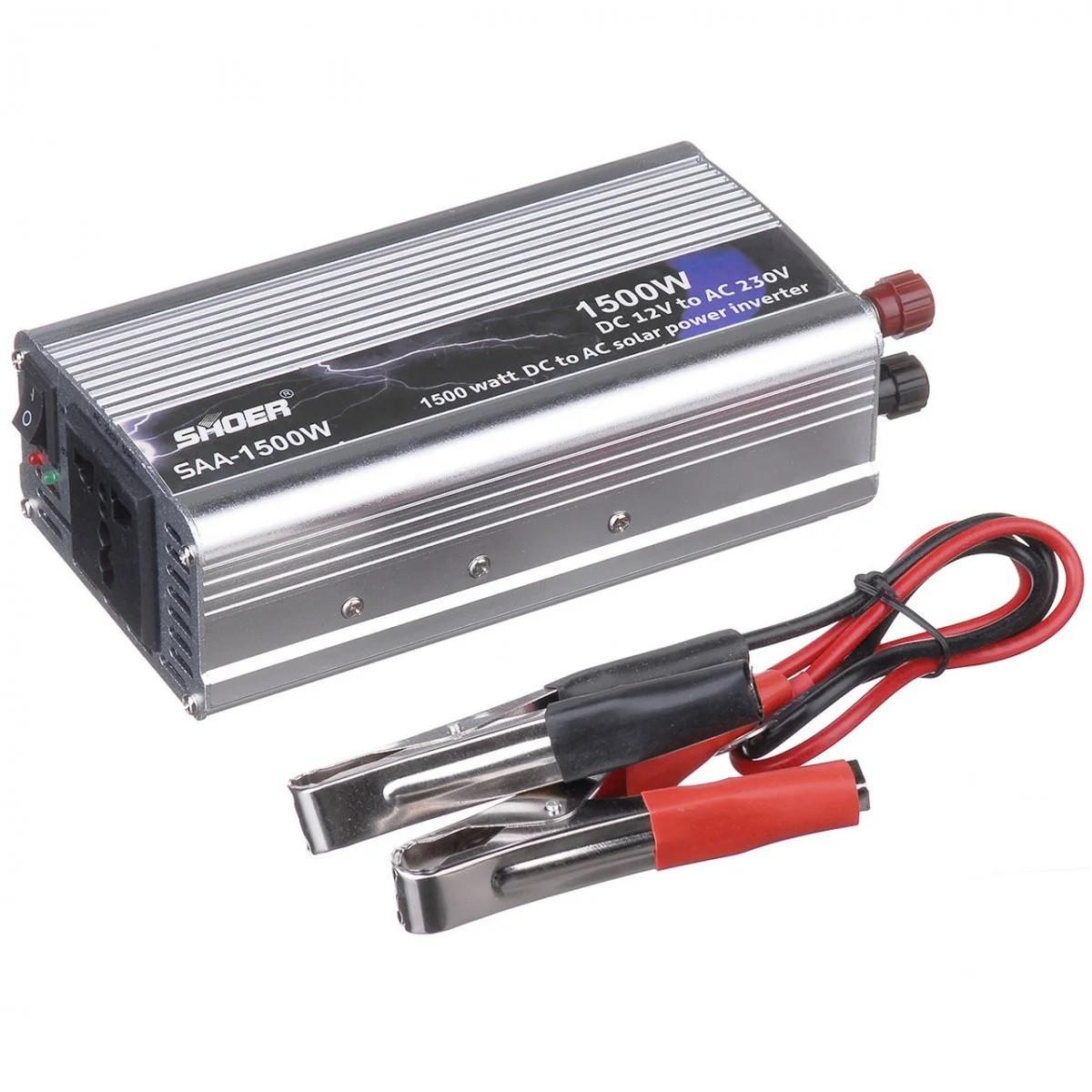 Автомобильный преобразователь напряжения SHOER SAA-1500A 12V-230V 1500W авто инвертор в коробке