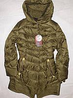 Куртка пуховик полупальто темно зеленый хаки женская 46 удлинненная