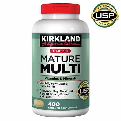 Kirkland Signature Mature multi для взрослых 50+, без железа 400 таблеток