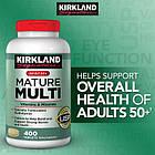 Kirkland Signature Mature multi для взрослых 50+, без железа 400 таблеток, фото 2