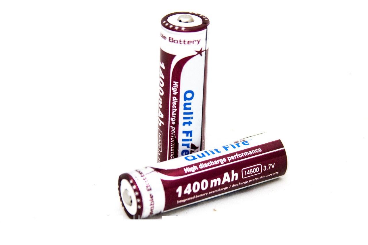 Перезаряжаемый литиевый аккумулятор Qulit Fire 14500-1400 mAh, 2 штуки в блистере