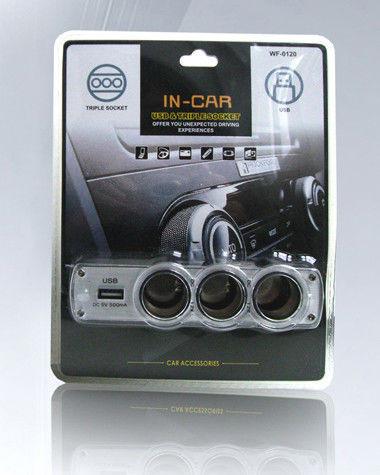 Разветвитель для прикуривателя wf-0120, автомобильный сплиттер, 3 гнезда + usb-порт