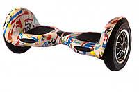 """Гироскутер гироборд Smart Balance Wheel 10"""" i10 с автобалансом и пультом Bluetooth Брызги краски на белом, фото 1"""