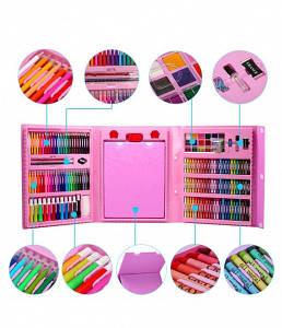 Набор для детского творчества 208 предметов в удобном кейсе с ручкой c мольбертом детский набор для рисования