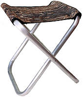 Складной алюминиевый рыбацкий стул без спинки 30x30x50 см маленький камуфляж, фото 1