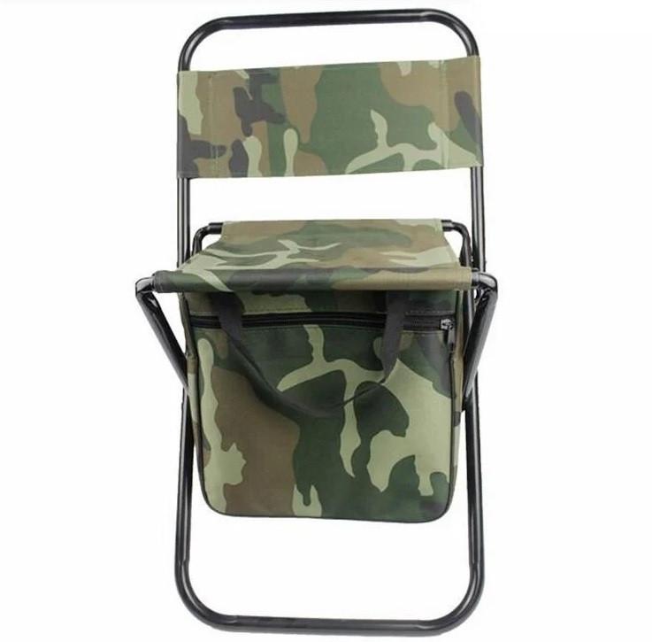 Складной рыбацкий стул со спинкой 35x30x55 см камуфляжный с сумкой в ногах