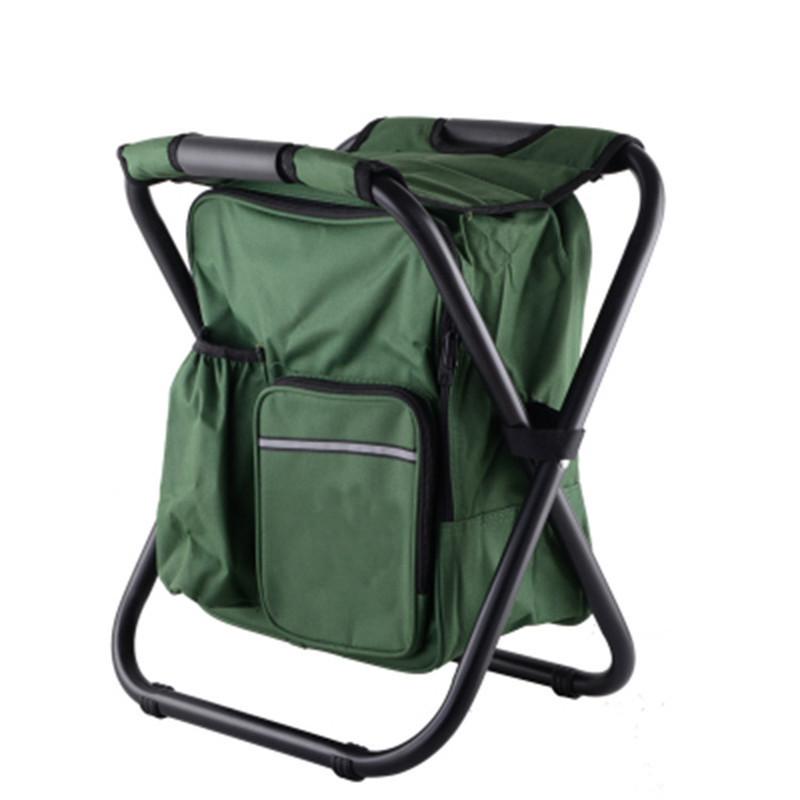 Складной рыбацкий стул 36x29x41 см зеленый с рюкзаком в ногах без спинки