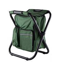 Складной рыбацкий стул 36x29x41 см зеленый с рюкзаком в ногах без спинки, фото 1