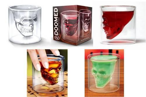 Мужской подарок стакан в виде черепа Doomed, бокал в виде черепа