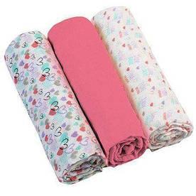 Муслиновые пеленки BabyOno Cупермягкие Набор 3 шт. Розовые
