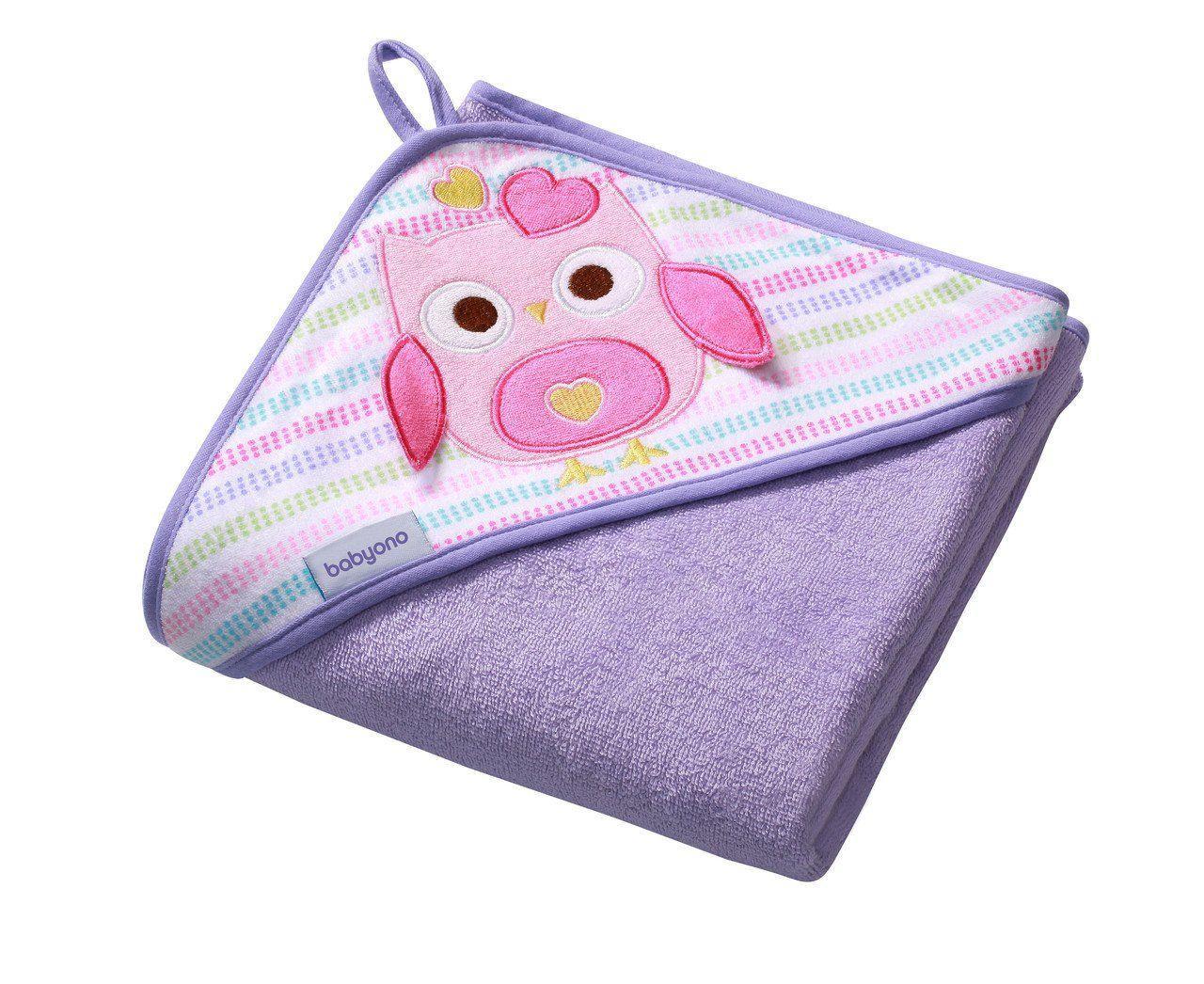 Полотенце махровое с капюшоном BabyOno 100x100 см Сова Фиолетовое