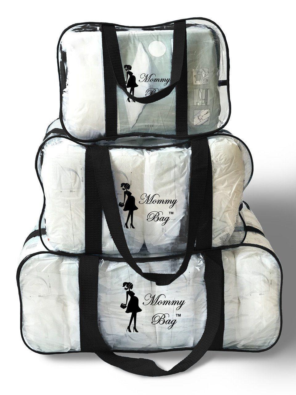 Набор из прозрачных сумок в роддом Mommy Bag, размеры - S, M, L, цвет - Черный