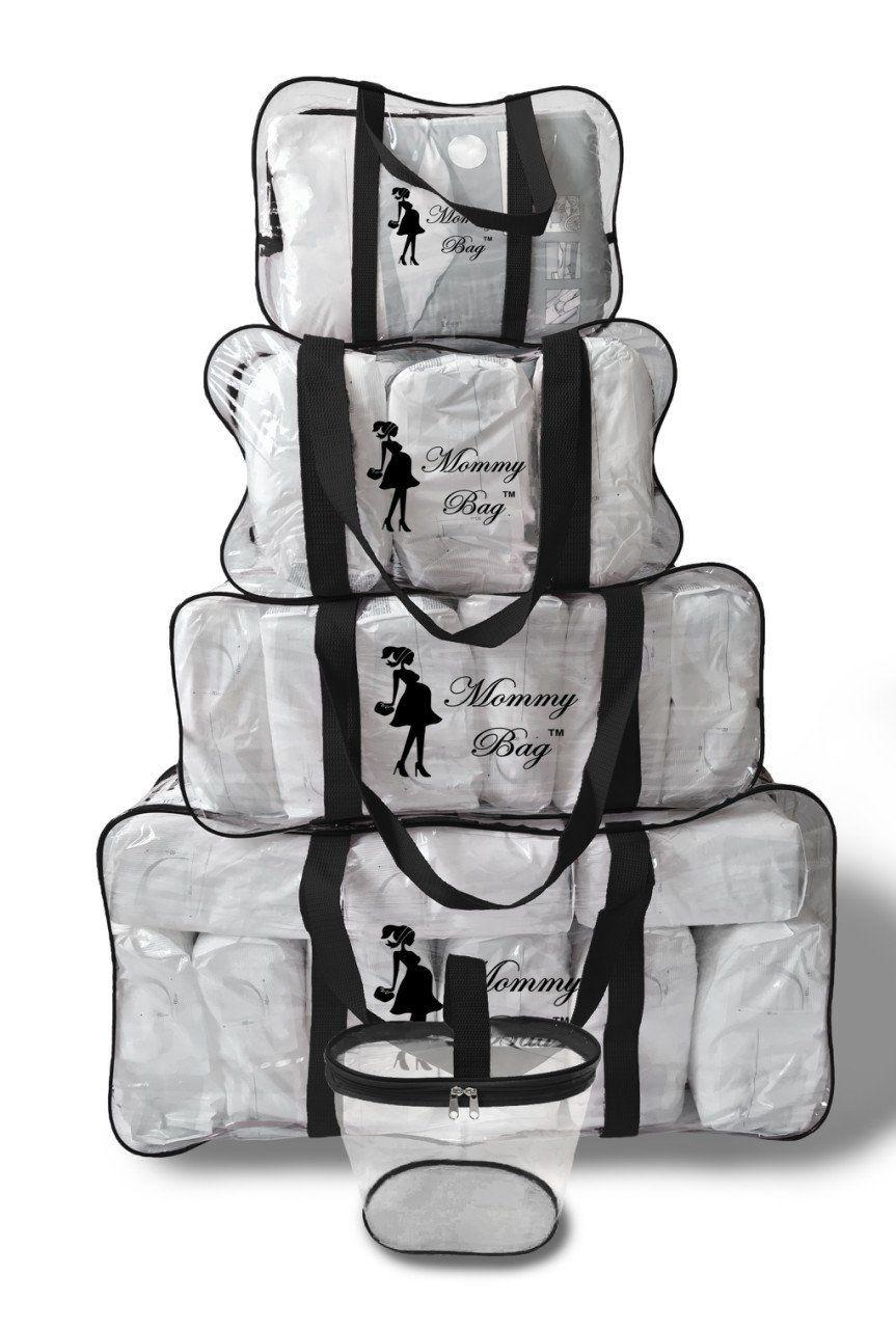 Набор из прозрачных сумок в роддом Mommy Bag, размеры - S, M, L, XL + органайзер, цвет - Черный