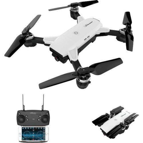 Складной радиоуправляемый квадрокоптер Drone YH-19 White, HD+ FPV с HD WI-FI камерой на пульте управления