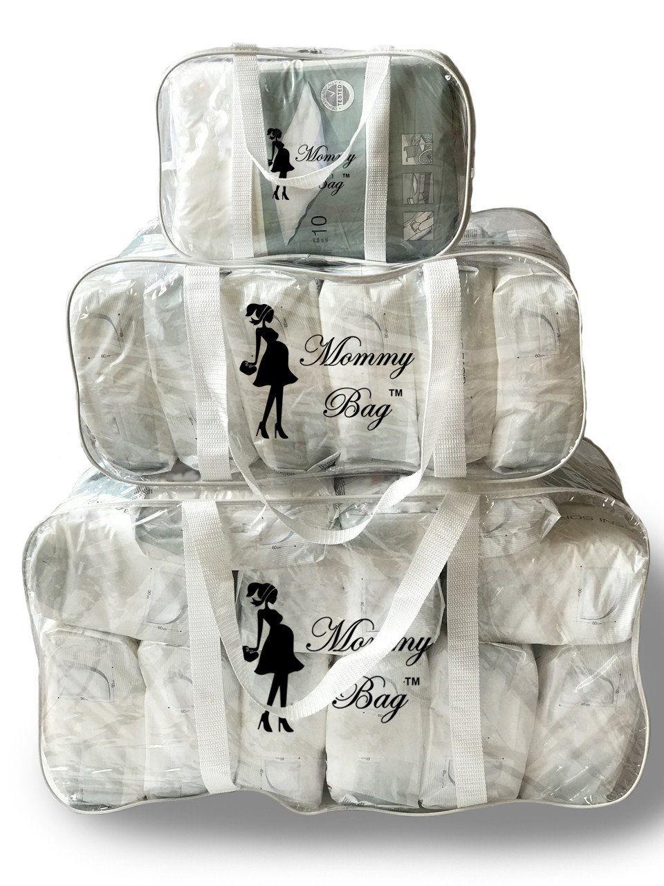 Набор из прозрачных сумок в роддом Mommy Bag, размеры - S, L, XL, цвет - Белый