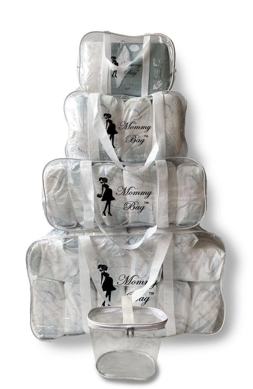 Набор из прозрачных сумок в роддом Mommy Bag, размеры - S, M, L, XL + органайзер, цвет - Белый