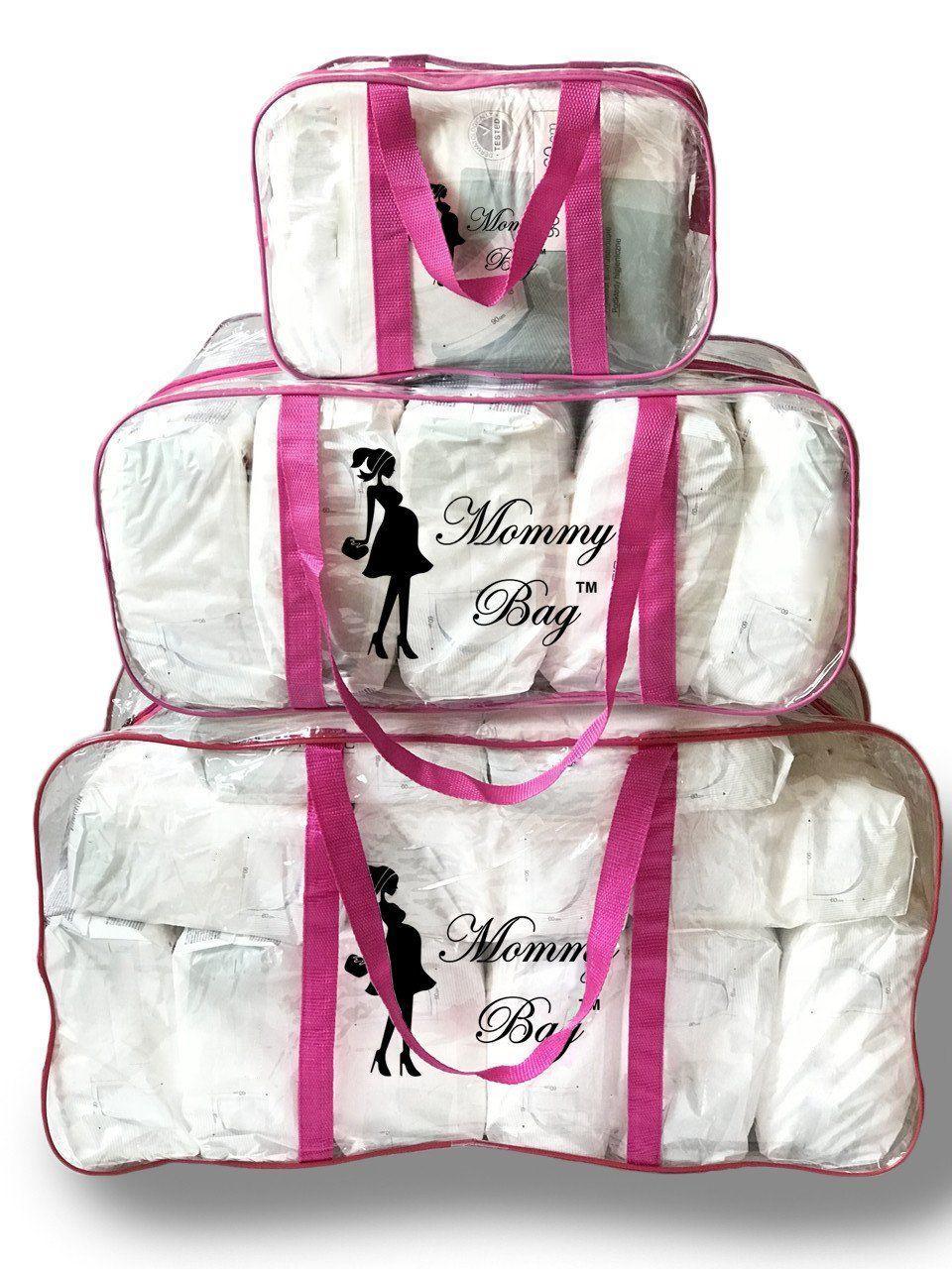 Набор из прозрачных сумок в роддом Mommy Bag, размеры - S, L, XL, цвет - Розовый