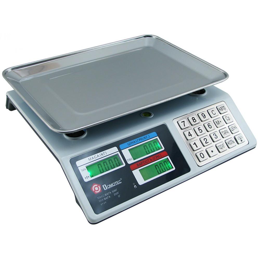 Торговые электронные весы Domotec MS-982S от 5 гр до 50 кг Metal Button с металлическими кнопками