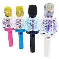 Беспроводной микрофон караоке bluetooth Q101 с led подсветкой White белый, фото 1