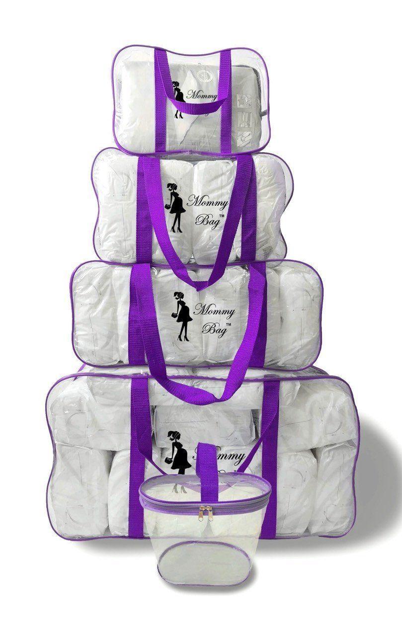 Набор из прозрачных сумок в роддом Mommy Bag, размеры - S, M, L, XL + органайзер, цвет - Фиолетовый
