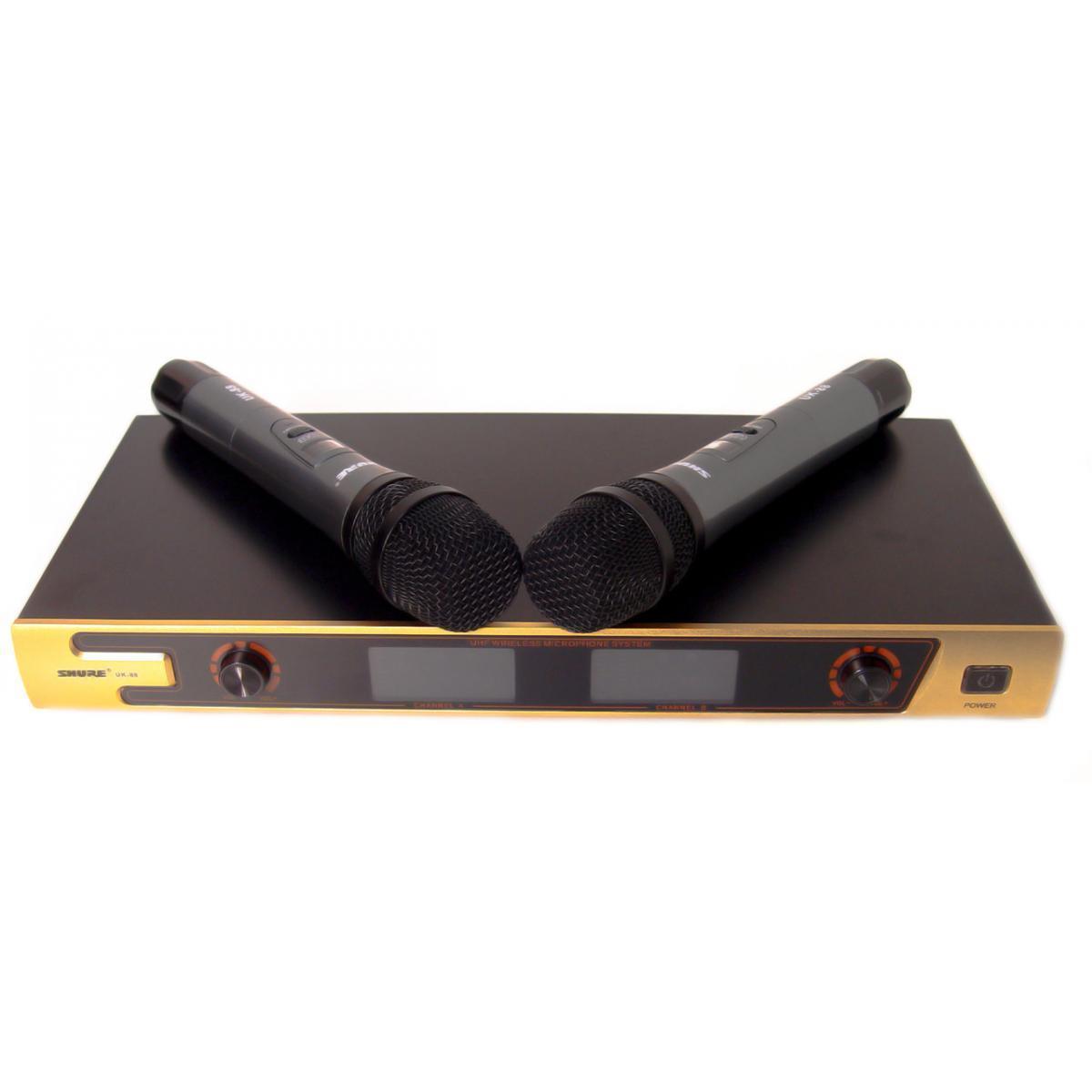 Ручной беспроводной радиомикрофон Shure UK-88, профессиональная радио система база с двумя беспроводными микро