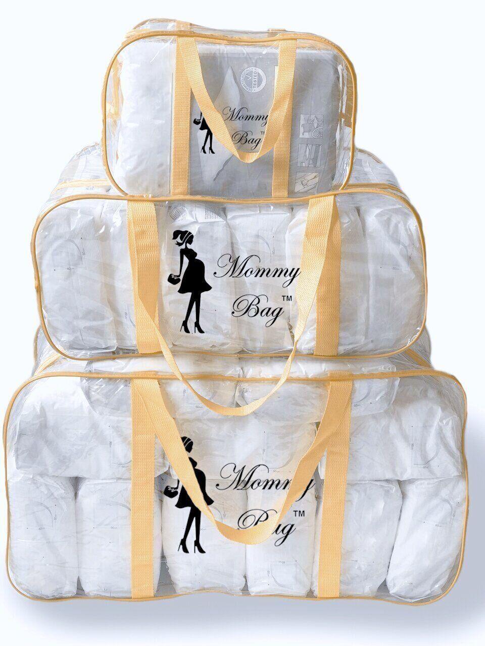 Набор из прозрачных сумок в роддом Mommy Bag, размеры - S, L, XL, цвет - Бежевый