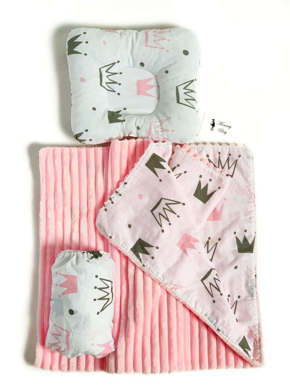 Набор в детскую кроватку 3в1 (простынь, плед, подушка) Розовые Короны №6