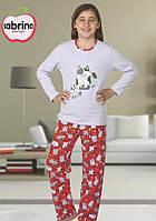 Байковая пижама с рисунком котов для девочек 3-11 лет