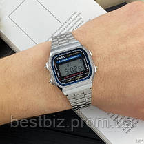 Часы наручные металлические Casio Illuminator F-91W Silver-Black New Касио илюминатор (реплика), фото 2
