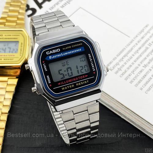 Часы наручные металлические Casio Illuminator F-91W Silver-Black New Касио илюминатор (реплика)