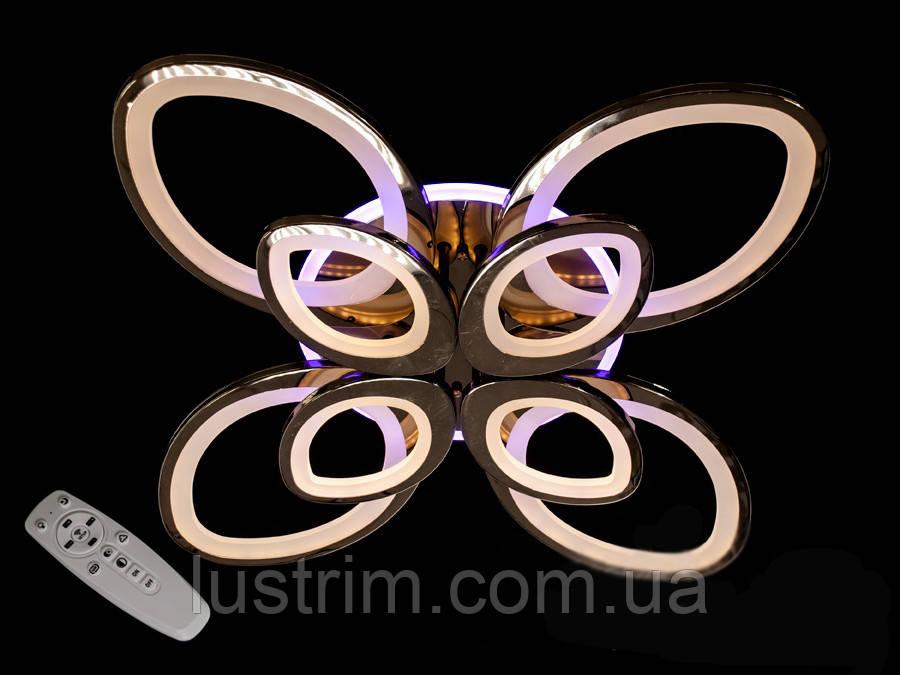Світлодіодна люстра з діммером і LED підсвічуванням, колір чорний хром, 170W