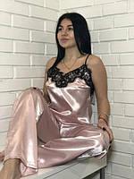 Атласний жіночний комплект майка і штани пудка білий/чорний, фото 1