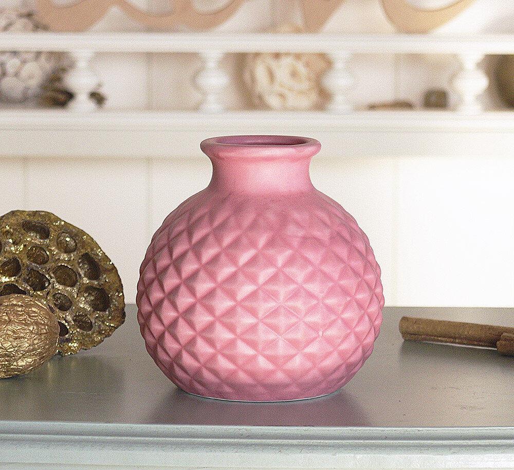 Декоративная ваза керамика тёмно-розовый ромб h11см Гранд Презент 1019743-5ТР