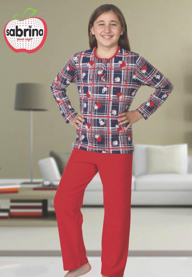 Байковая красная пижама с рисунком кошечек для девочек 3-11 лет