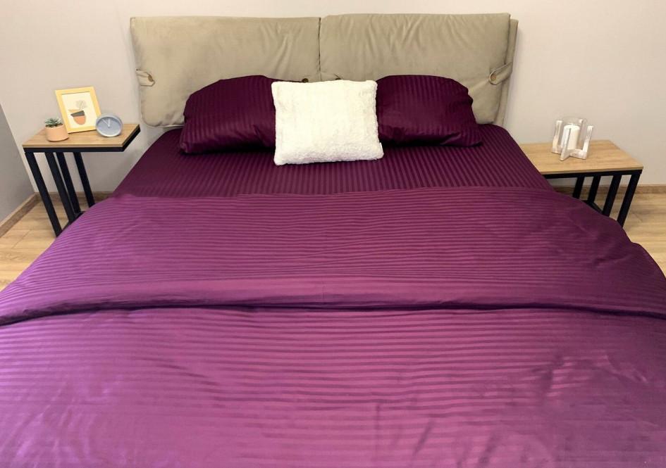 Постельное белье страйп сатин Фиолетовый, евро комплект