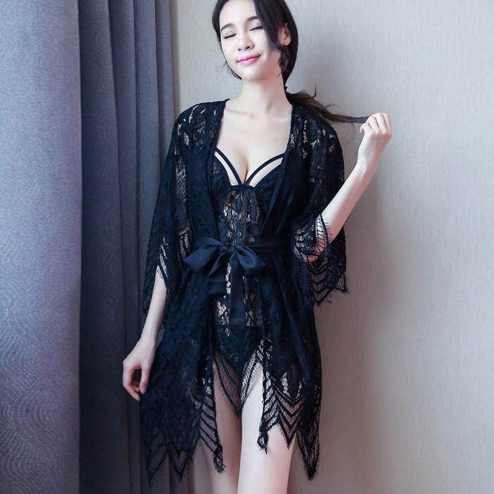 Кружевной комплект халат с пеньюаром Dear Lover 2272 Черный