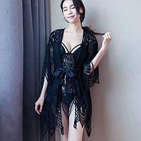 Кружевной комплект халат с пеньюаром Dear Lover 2272 Черный, фото 1
